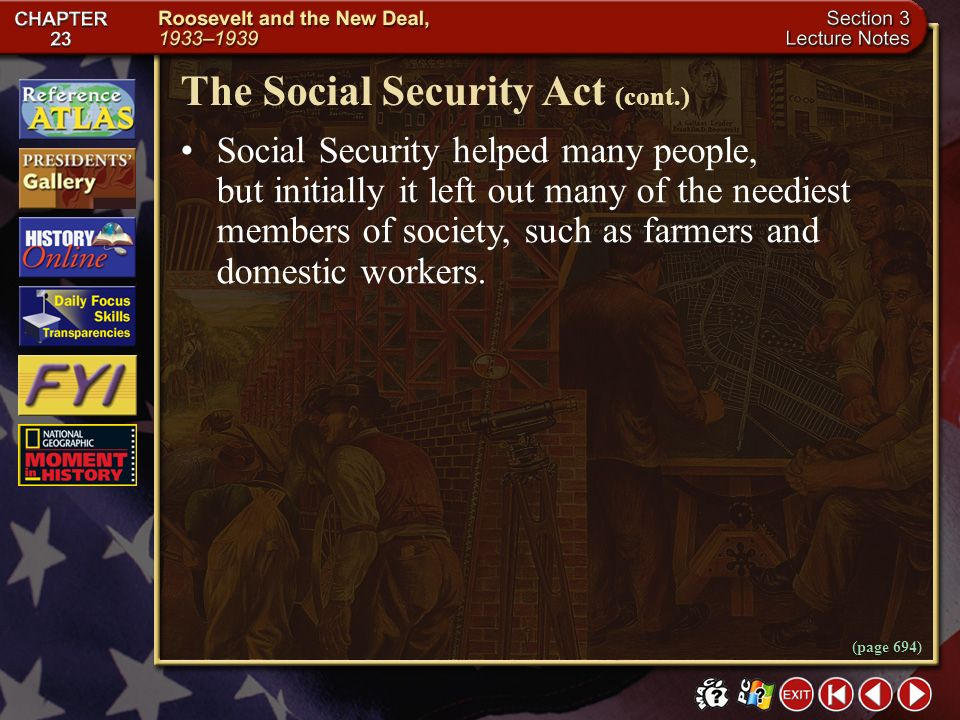 The Social Security Act (cont.)