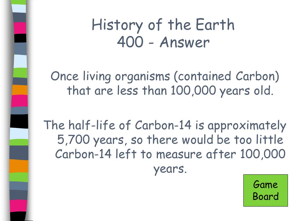 History of the Earth 400 - Answer