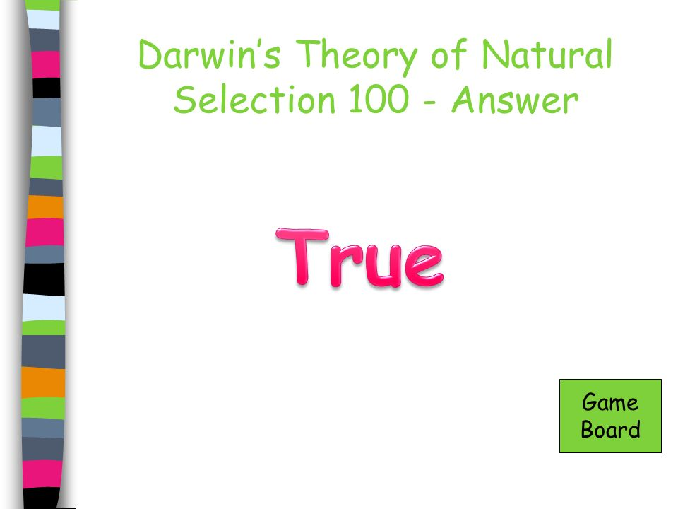 Darwin's Theory of Natural Selection 100 - Answer