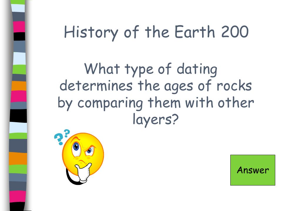 History of the Earth 200 What type of dating determines the ages of rocks by comparing them with other layers