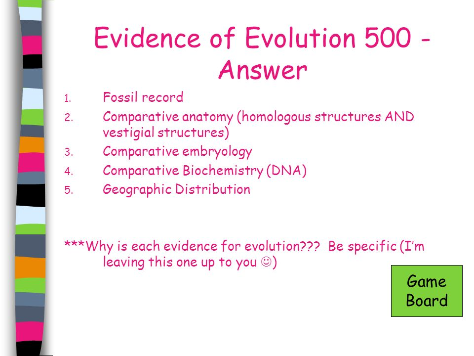 Evidence of Evolution 500 - Answer