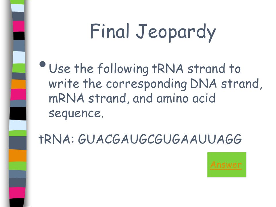 Final Jeopardy Use the following tRNA strand to write the corresponding DNA strand, mRNA strand, and amino acid sequence.