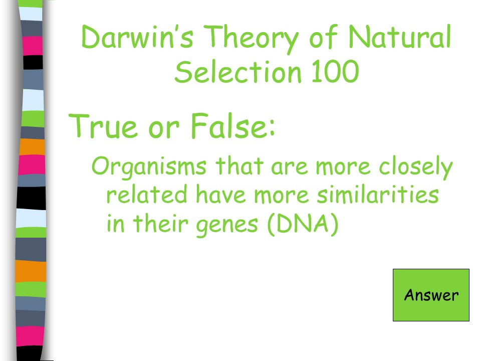 Darwin's Theory of Natural Selection 100