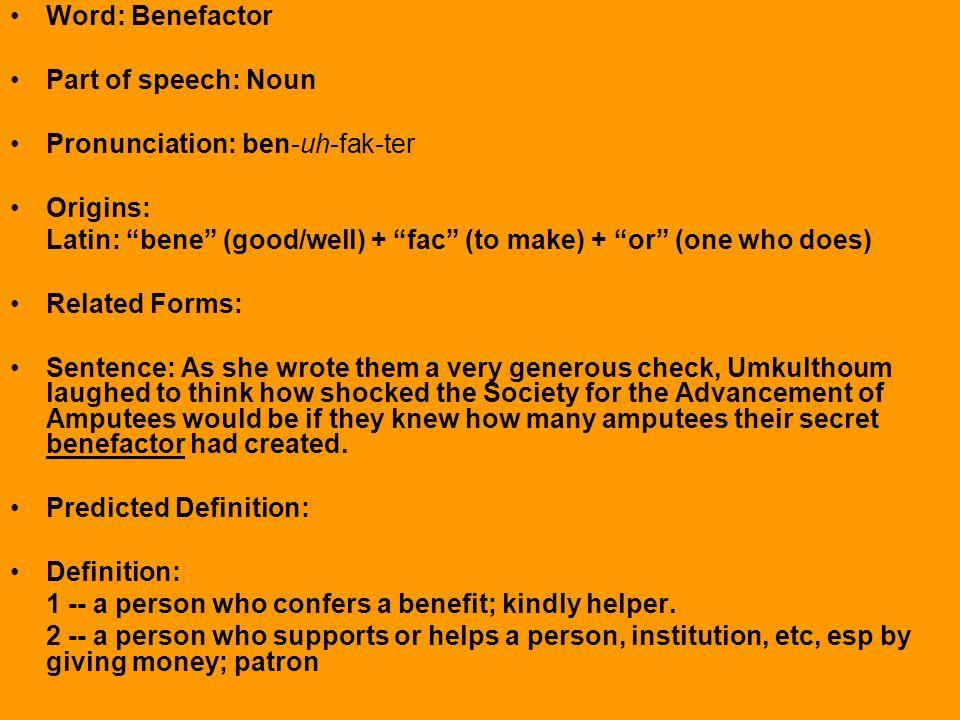 Word benevolent part of speech adjective ppt download for Terrace pronunciation