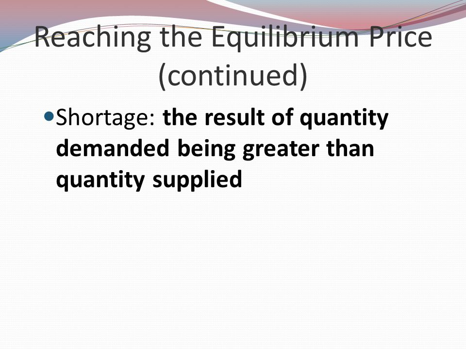 Reaching the Equilibrium Price (continued)