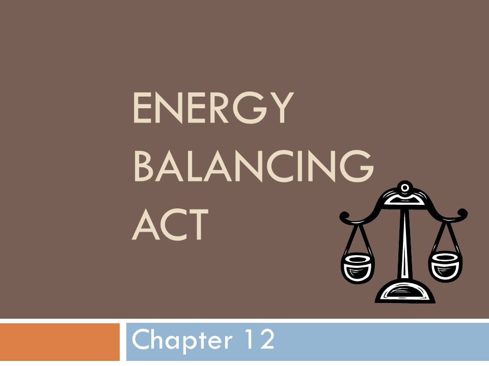 Energy Balancing Act Chapter 12