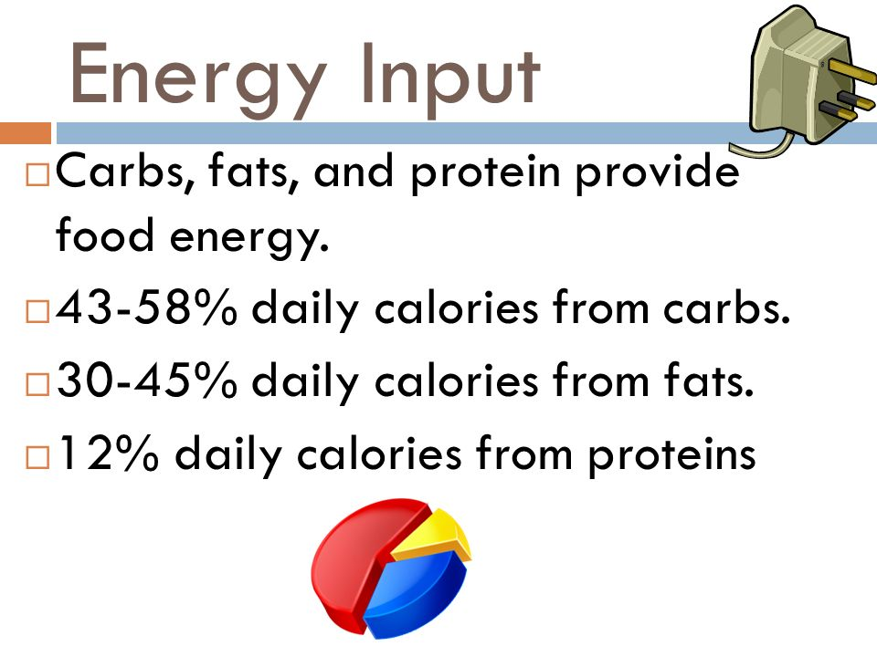 Energy Input Carbs, fats, and protein provide food energy.