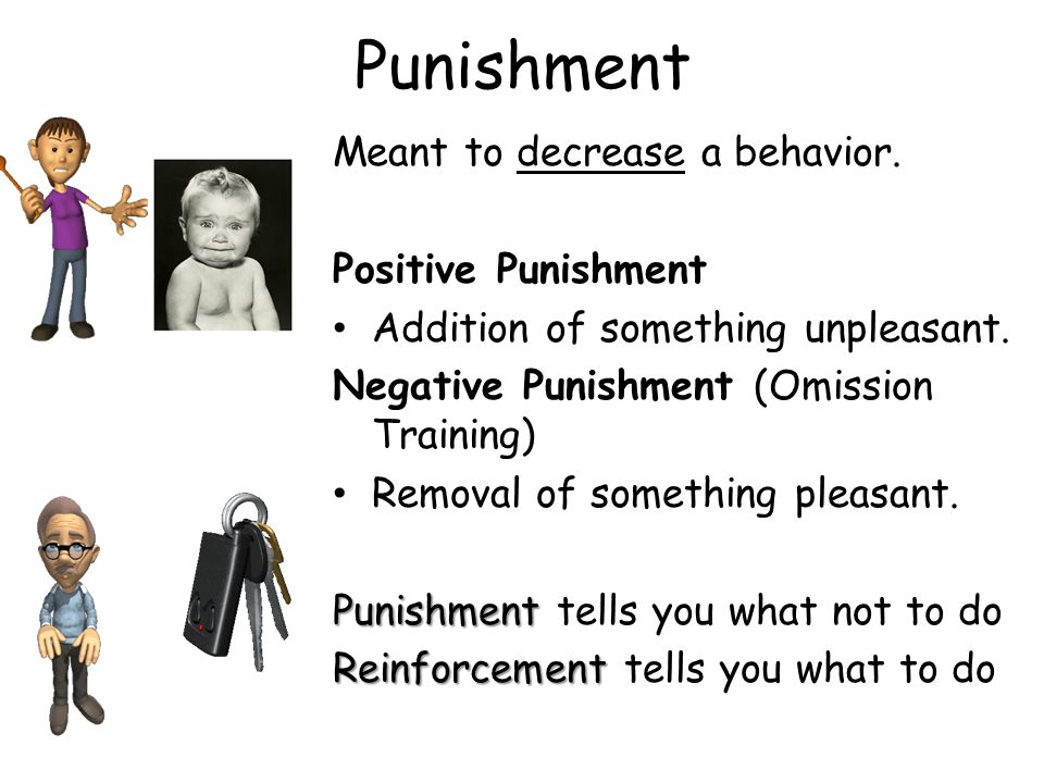 Punishment Meant to decrease a behavior. Positive Punishment