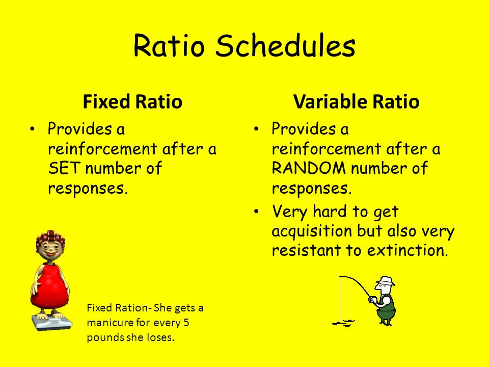 Ratio Schedules Fixed Ratio Variable Ratio