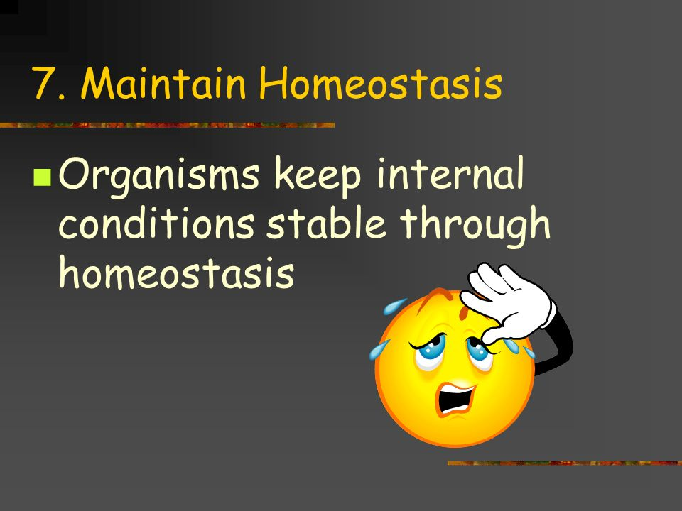 7. Maintain Homeostasis Organisms keep internal conditions stable through homeostasis