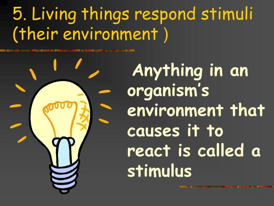 5. Living things respond stimuli (their environment )