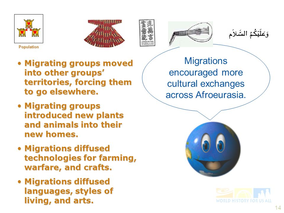 Migrations encouraged more cultural exchanges across Afroeurasia.