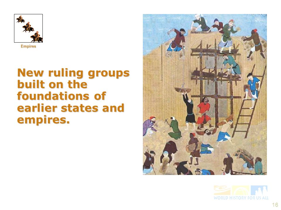 Empires New ruling groups built on the foundations of earlier states and empires.