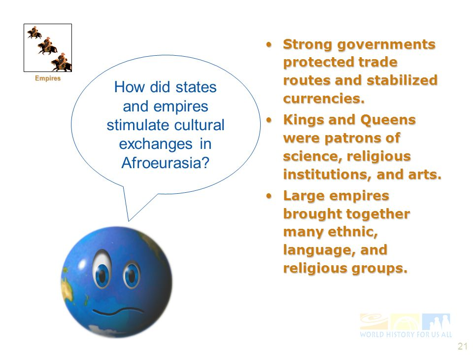 Empires Strong governments protected trade routes and stabilized currencies.