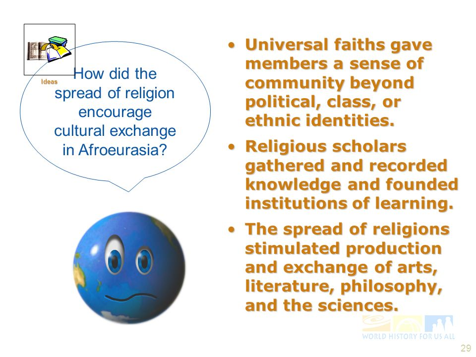 Ideas Universal faiths gave members a sense of community beyond political, class, or ethnic identities.