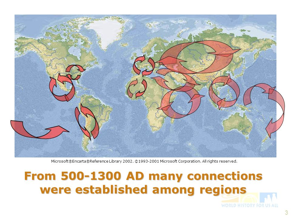 From 500-1300 AD many connections were established among regions