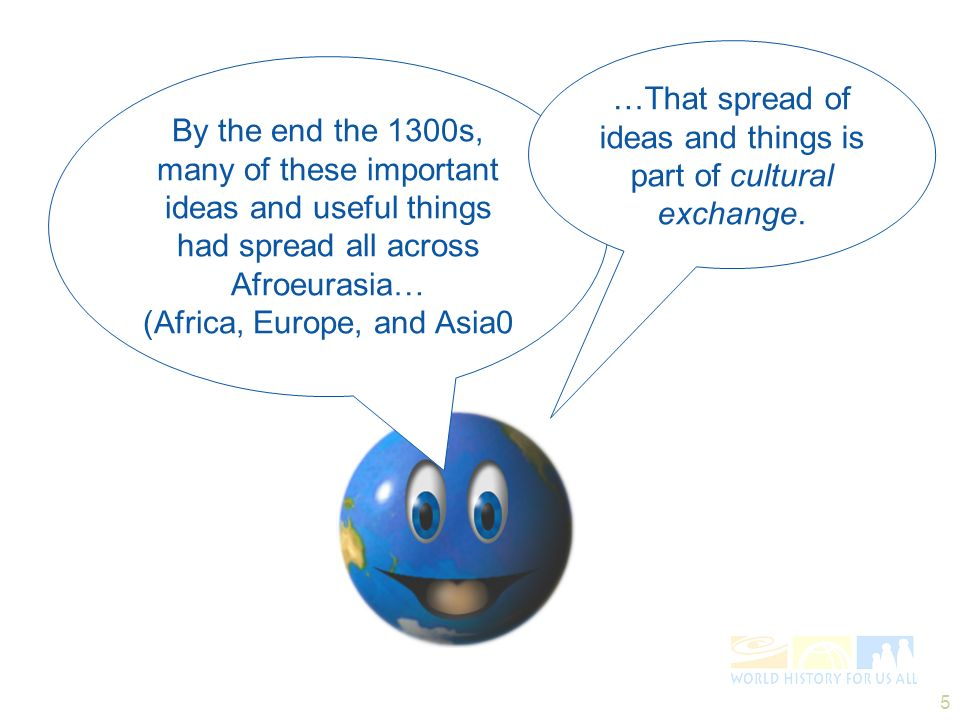 … …That spread of ideas and things is part of cultural exchange.