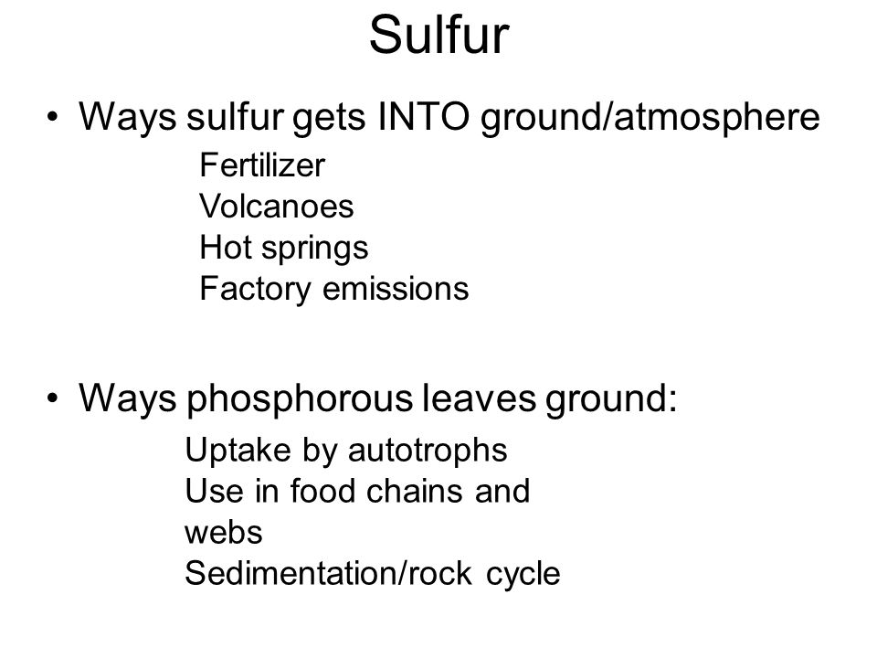 Sulfur Ways sulfur gets INTO ground/atmosphere