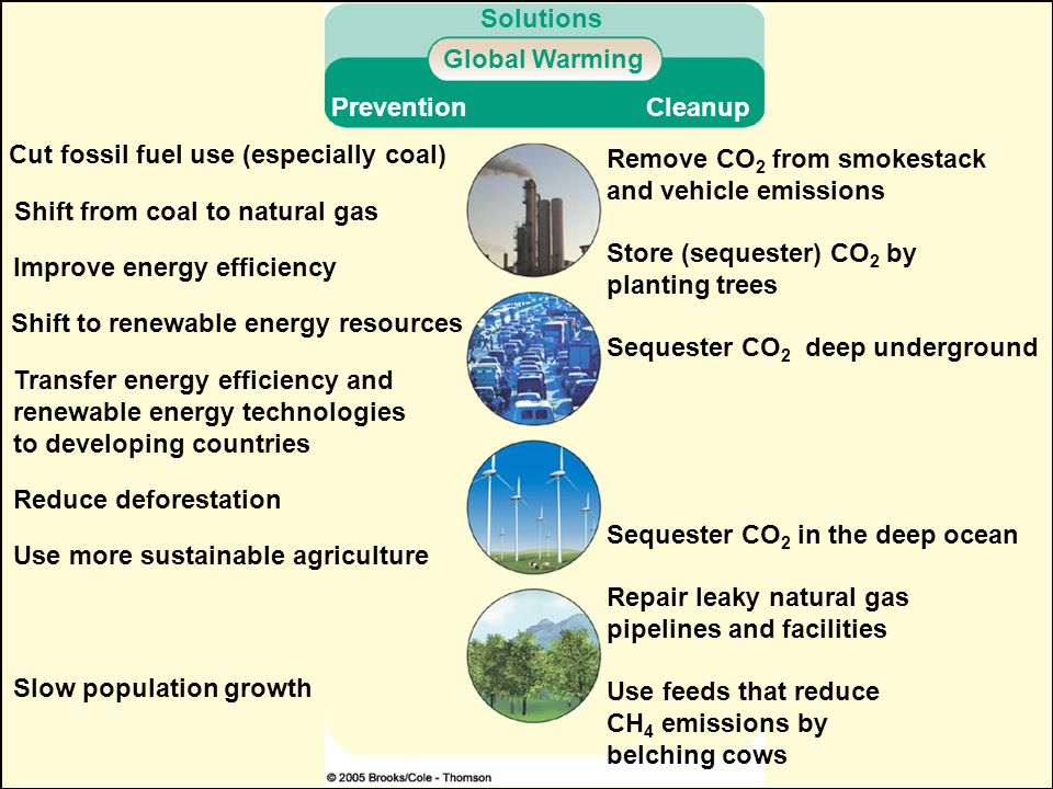Solutions Global Warming. Prevention. Cleanup. Cut fossil fuel use (especially coal) Remove CO2 from smokestack.