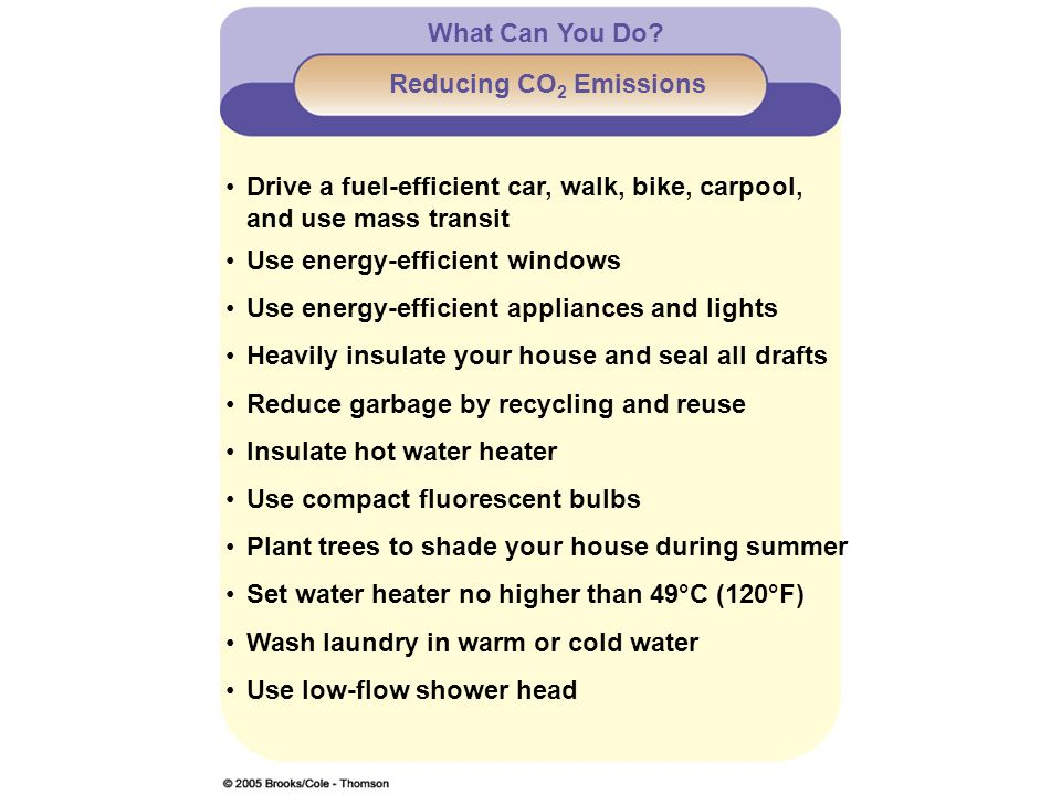 What Can You Do Reducing CO2 Emissions. Drive a fuel-efficient car, walk, bike, carpool, and use mass transit.
