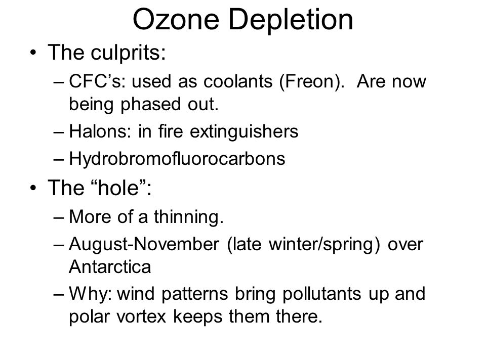 Ozone Depletion The culprits: The hole :