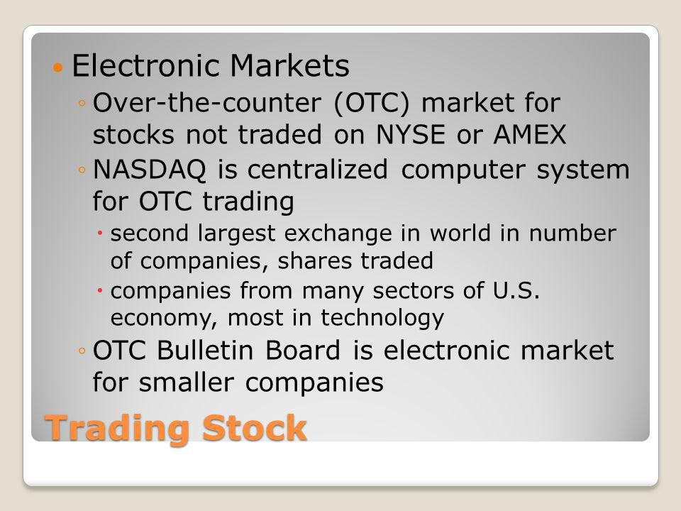 Trading Stock Electronic Markets