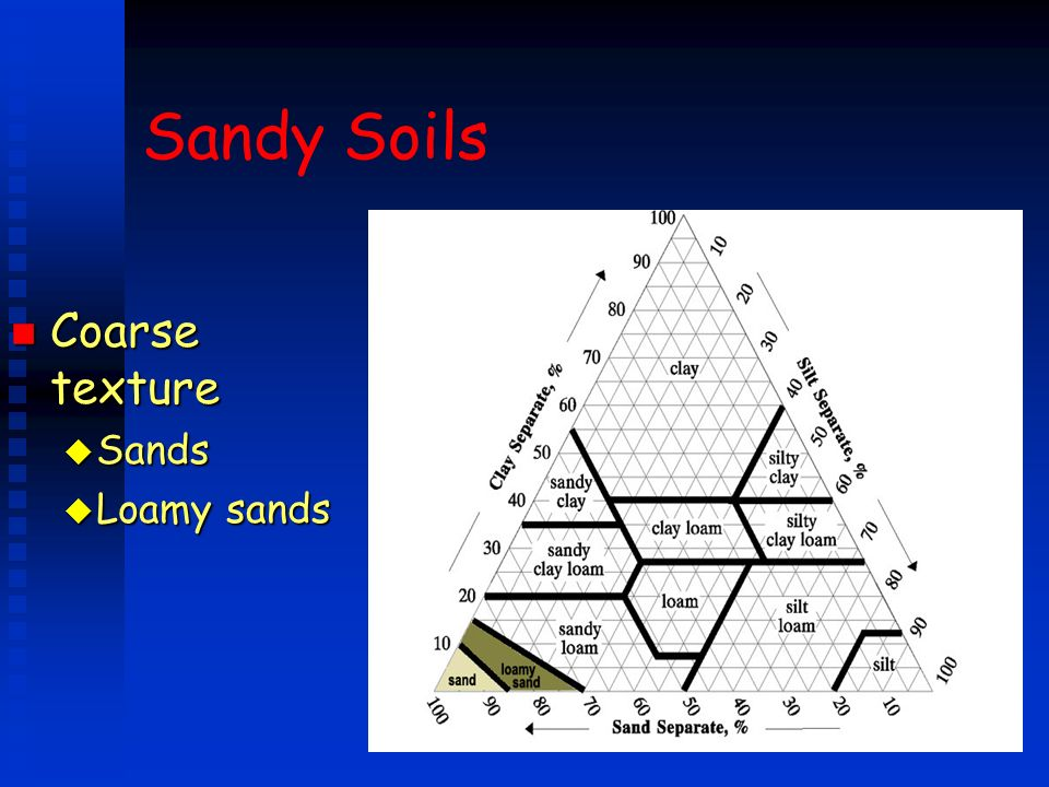 Sandy Soils Coarse texture Sands Loamy sands