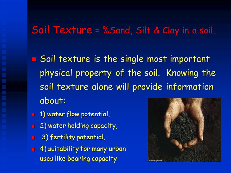 Soil Texture = %Sand, Silt & Clay in a soil.