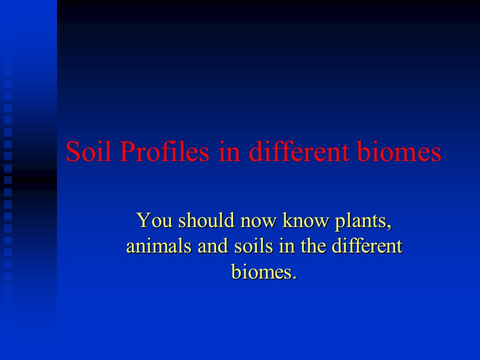 Soil Profiles in different biomes