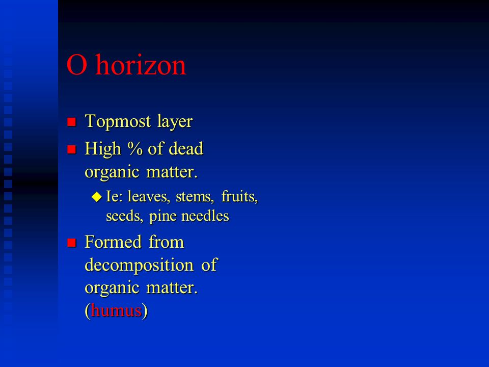 O horizon Topmost layer High % of dead organic matter.