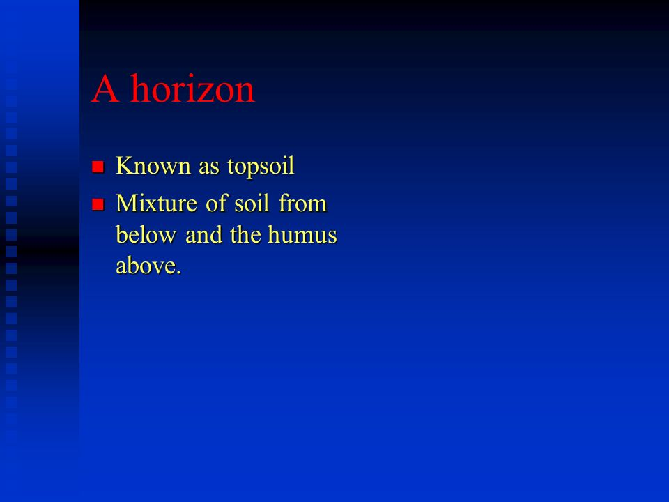 A horizon Known as topsoil