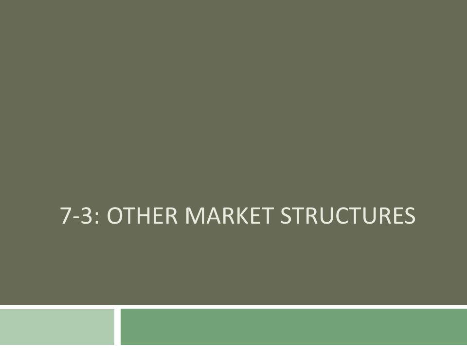 7-3: Other Market Structures