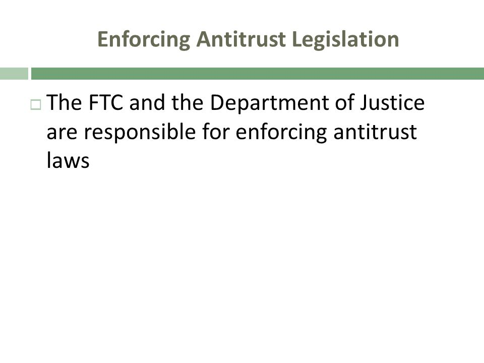 Enforcing Antitrust Legislation