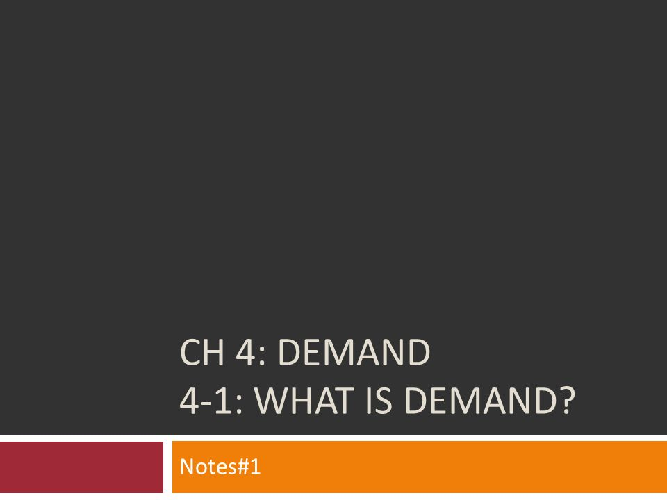 CH 4: Demand 4-1: WHAT IS DEMAND