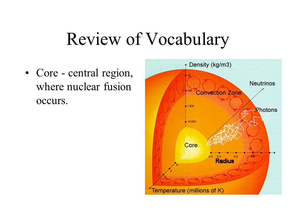 Review of Vocabulary Core - central region, where nuclear fusion occurs.