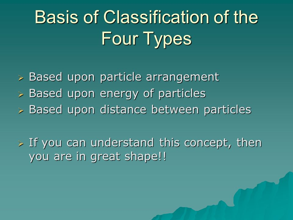 Basis of Classification of the Four Types