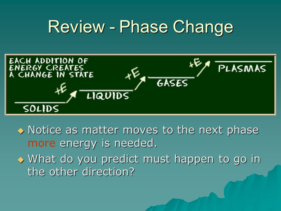 Review - Phase Change Notice as matter moves to the next phase more energy is needed.