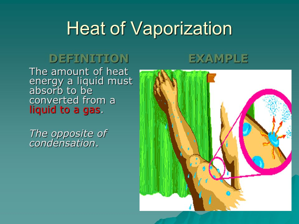 Heat of Vaporization EXAMPLE The opposite of condensation. DEFINITION