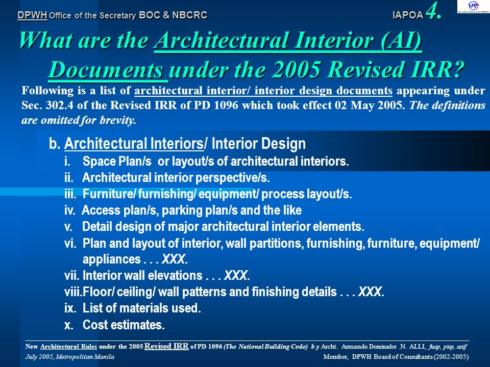 The national building code ppt download for Architectural materials list