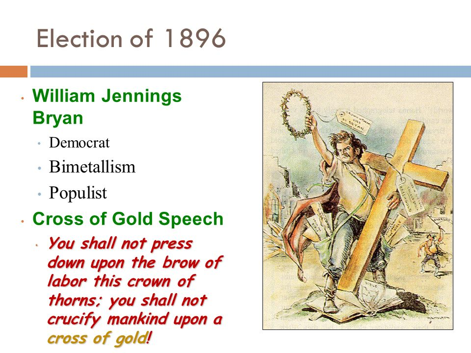 Election of 1896 William Jennings Bryan Bimetallism Populist
