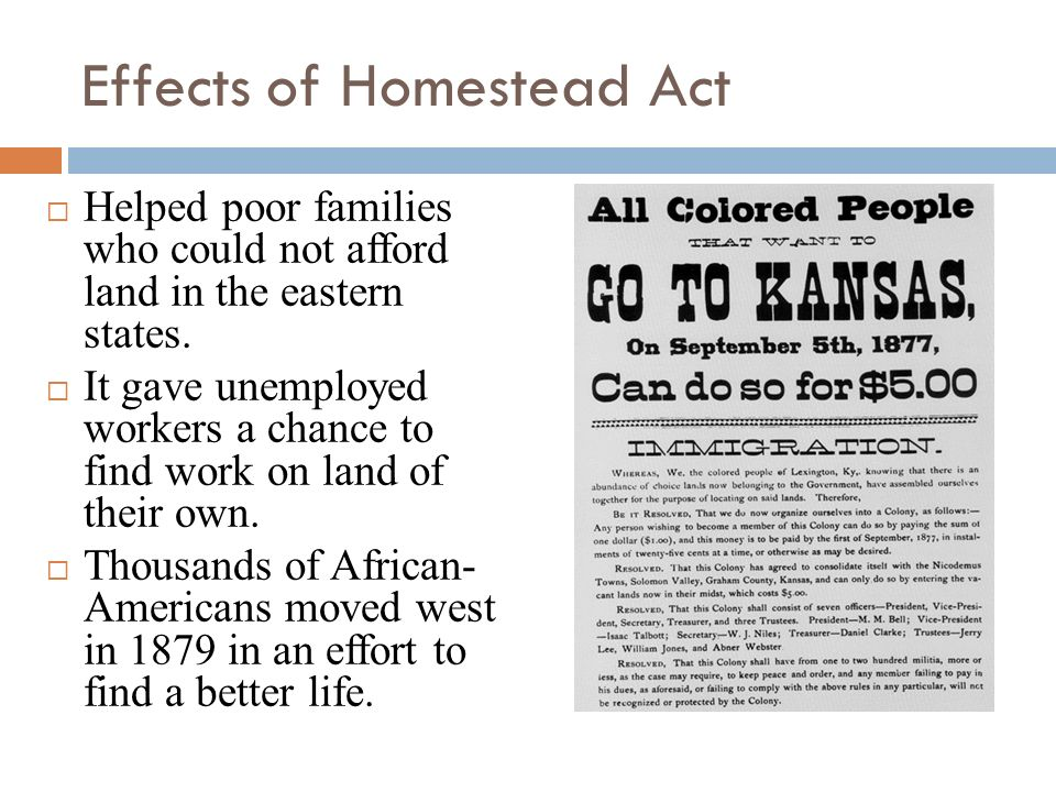 Effects of Homestead Act