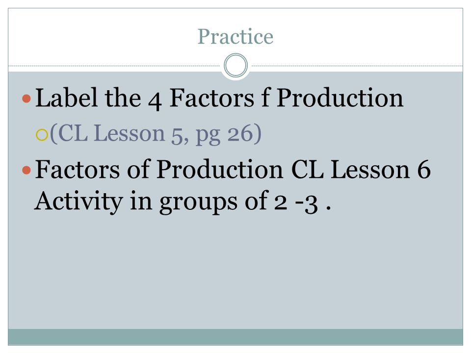 Label the 4 Factors f Production