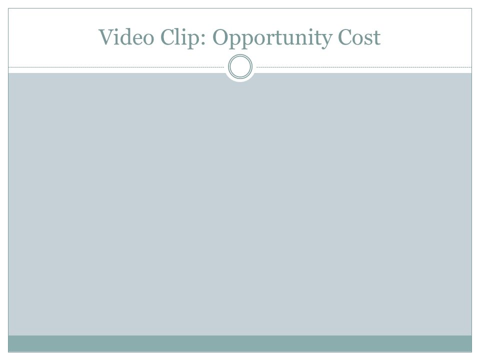 Video Clip: Opportunity Cost