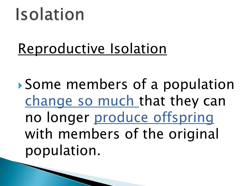 Isolation Reproductive Isolation