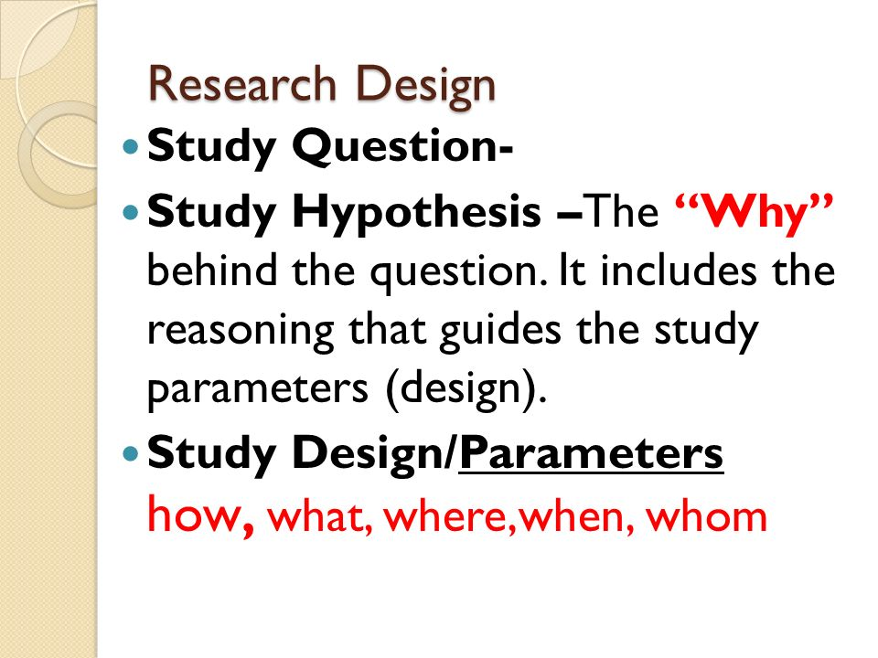 Research Design Study Question-
