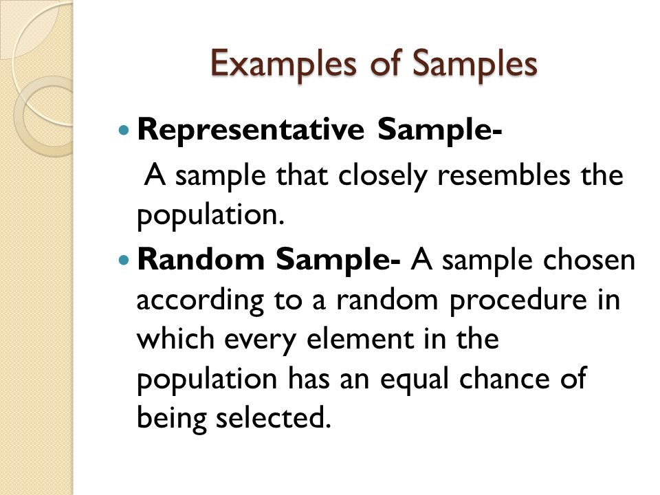 Examples of Samples Representative Sample-