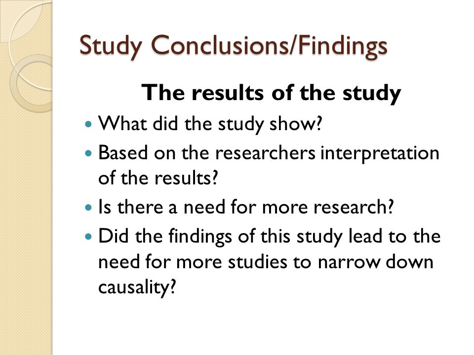 Study Conclusions/Findings