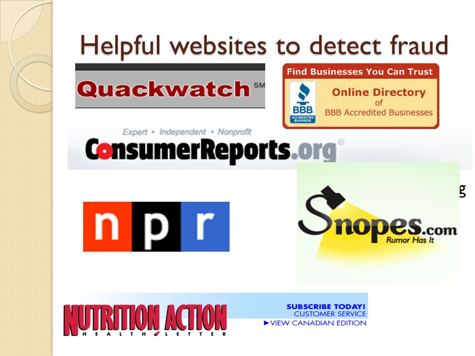Helpful websites to detect fraud