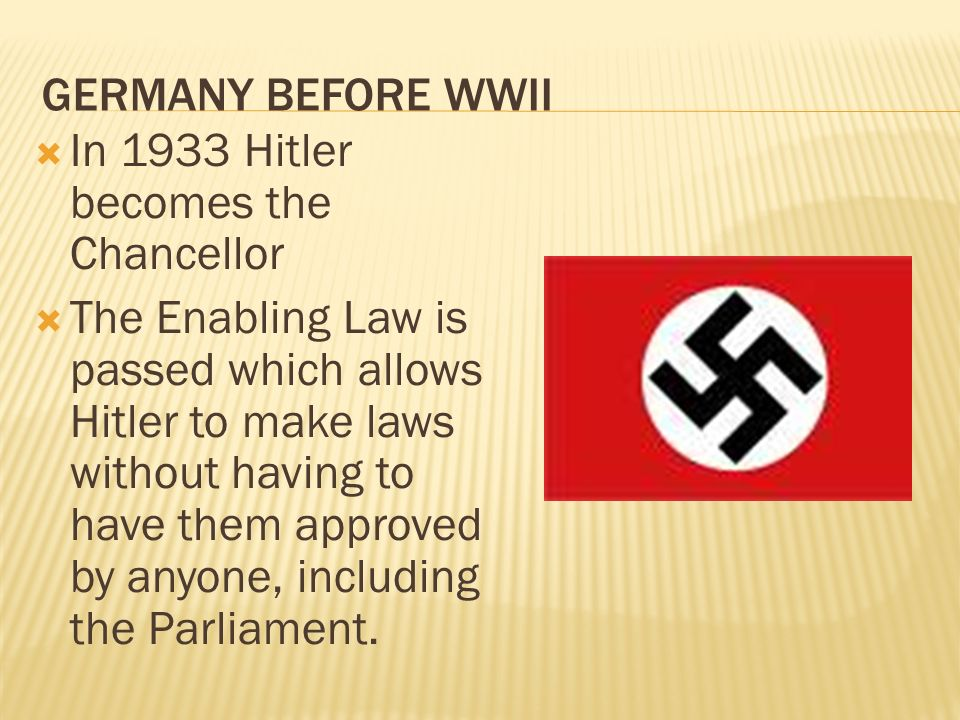 In 1933 Hitler becomes the Chancellor