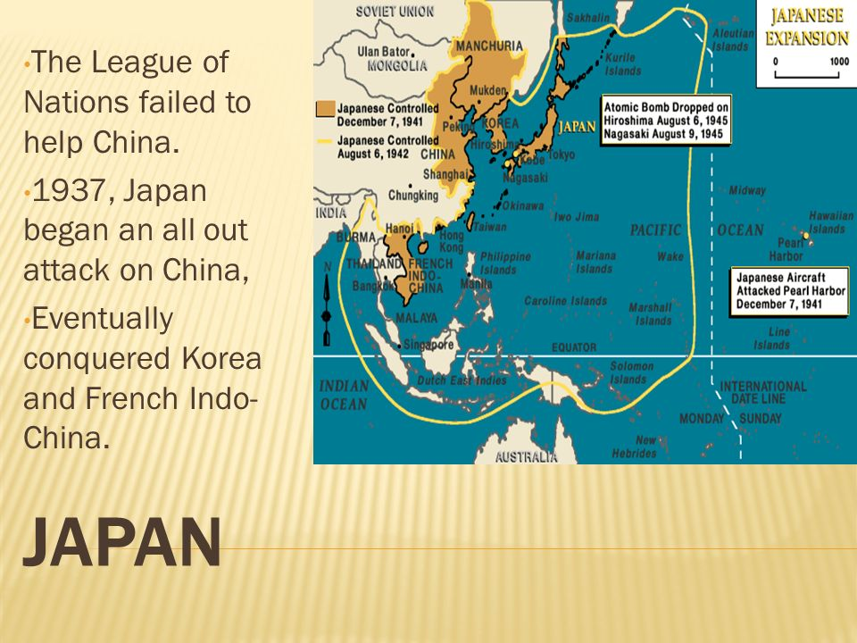 Japan The League of Nations failed to help China.